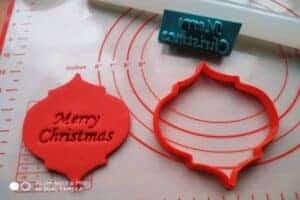 Κουπάτ Set Χριστουγεννιάτικο Στολίδι με σφραγίδα Merry Christmas 2